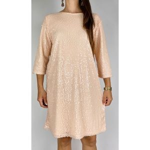 TULIPS Pale Pink Sequin Embellished 3/4 Sleeve Shift Dress Size AU 14 Cocktail
